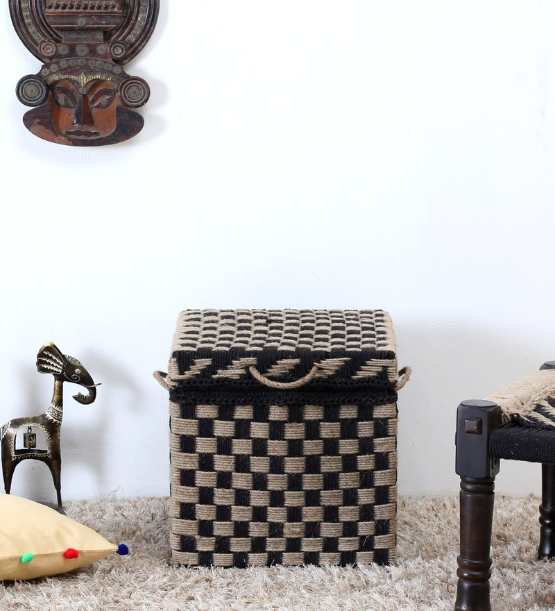 Tasarika Trunk with Weaving Work in Black and Khaki Color  by Mudramark