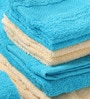 Tangerine Blue & Yellow Cotton Bath, Hand, Face Towel - Set of 8