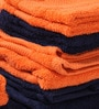 Tangerine Orange & Blue Cotton Bath, Hand, Face Towel - Set of 8