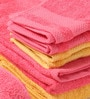 Tangerine Yellow & Pink Cotton Bath, Hand, Face Towel - Set of 8