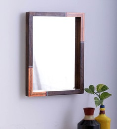Teak Wood Orange Warli Mirror