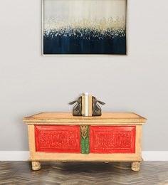 Teak Wood Storage Trunk Cum Coffee Table In Distressed Finish & Brass Work