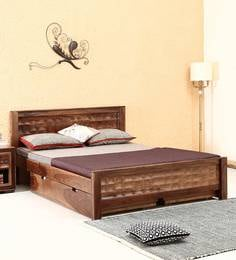 Tesseract Solid Wood Queen Size Bed With Drawer Storage In Warm Walnut  Finish By Woodsworth