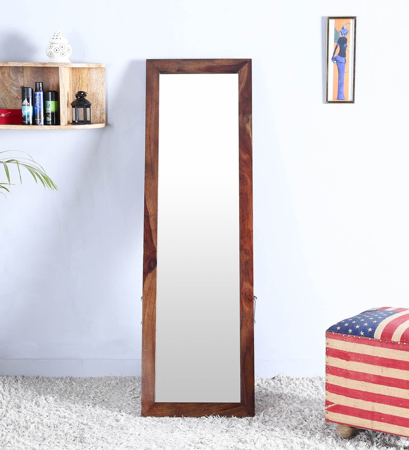 Teak Finish Sheesham Wood Full Length Floor Mirror with Stand by Woodsworth