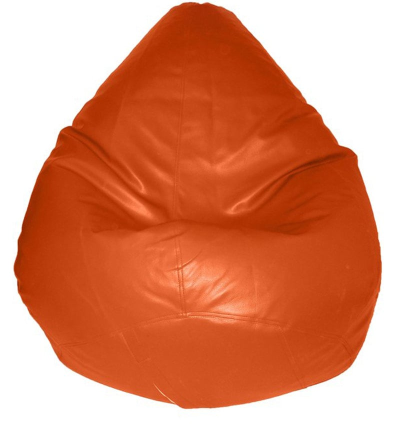 Teardrop Bean Bag with Beans in Orange Colour by Feel Good