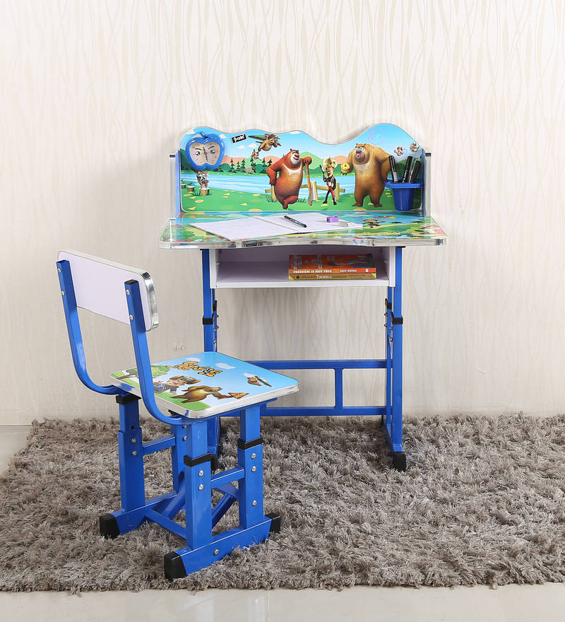 Teddy Kids Study Table & Chair Set In Blue Color By Parin