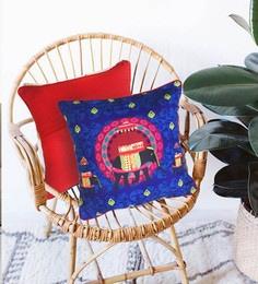 The Elephant Company Multicolour Cotton 16 X 16 Inch Blue Elephant Butti Cushion Cover