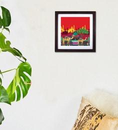 Red Wood & Acrylic Indian Caravan Serai Framed Wall Art