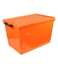 The Quirk Box Multipurpose Plastic 120 L Orange Storage Box With Lid