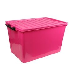 the quirk box plastic pink 60 l storage box with lid
