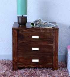 Oriel Three Drawer Bed Side Table In Provincial Teak Finish