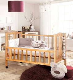 Three Level Adjustable Baby Cot In Beech Finish