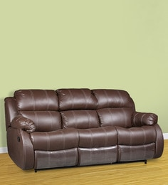 Three Seater Sofa With 2 Manual Recliners Collapsible Tray In Brown Colour