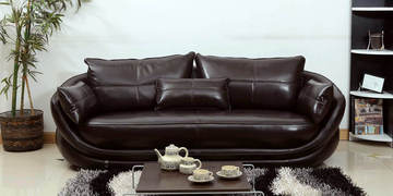 Three Seater Genuine Leather Sofa In Dark Brown Colour By Indoors