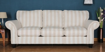 Three Seater Sofa In White & Light Beige Colour