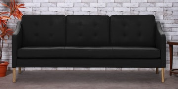 Three Seater Sofa With Tufted Cushions In Black Leatherette