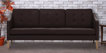 Three Seater Sofa With Tufted Cushions In Brown Leatherette