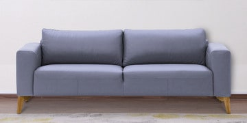 Three Seater Sofa With Wide Armrests In Silver Leatherette