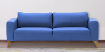 Three Seater Sofa With Wide Armrests In Steel Blue Leatherette