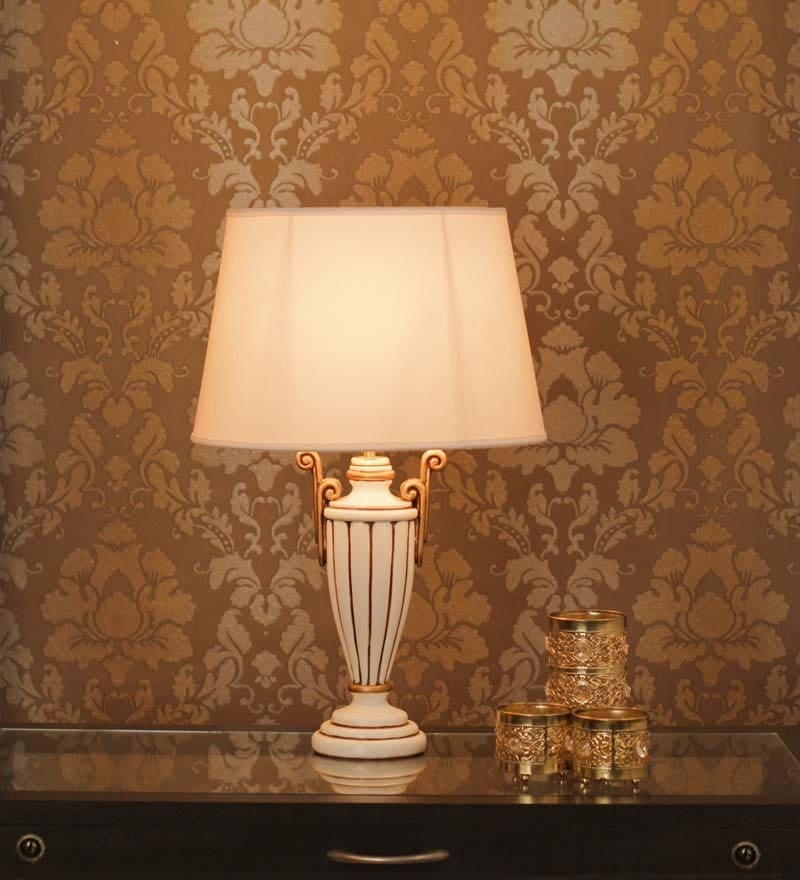 Gold Detailing Wood Table Lamp by The 7th Galaxy