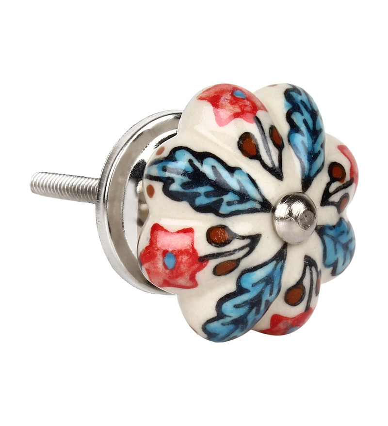 The Decor Mart Multicolour Ceramic 2.8 x 1.8 x 1.8 Inch Door Knobs - Set of 4 (Model No: Dmkn102)