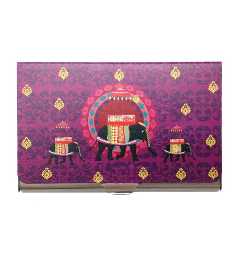 The Elephant Company Elephant Butti Steel Purple Visiting Card Holder