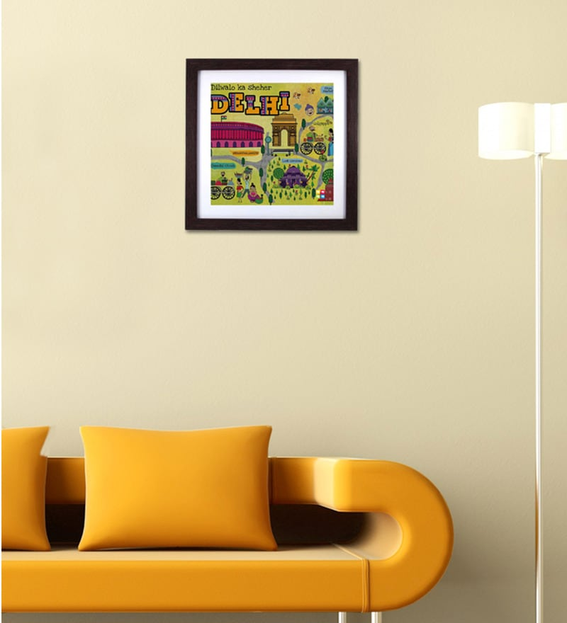 Green Wood & Acrylic Delhi Maps Framed Wall Art by The Elephant Company