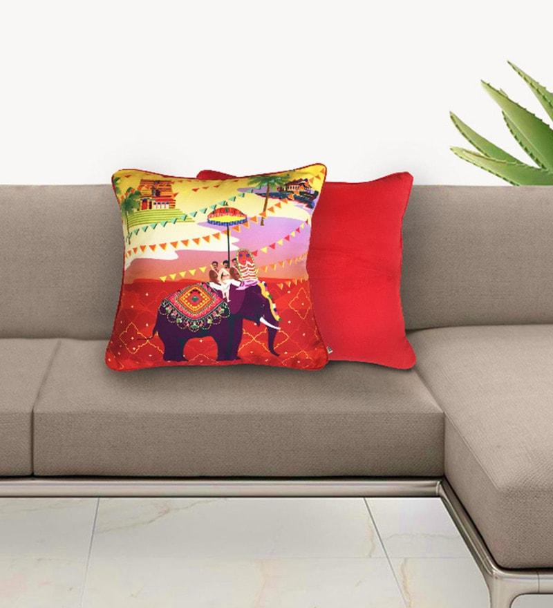 Multicolour Cotton 16 x 16 Inch Festive Elephant Journey Cushion Cover by The Elephant Company