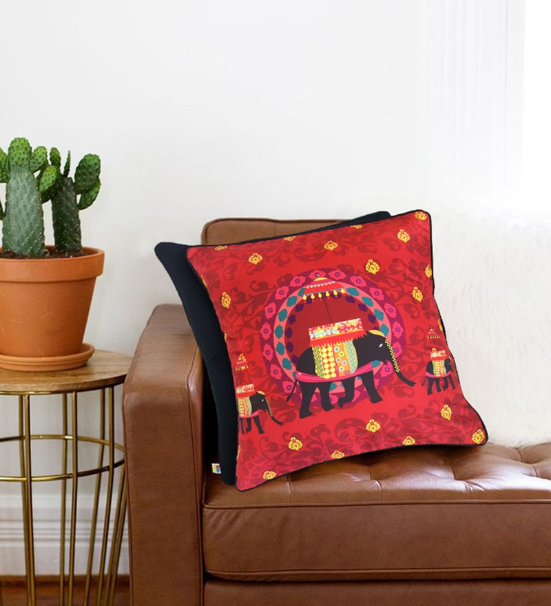 Multicolour Cotton 16 x 16 Inch Red Elephant Butti Cushion Cover by The Elephant Company