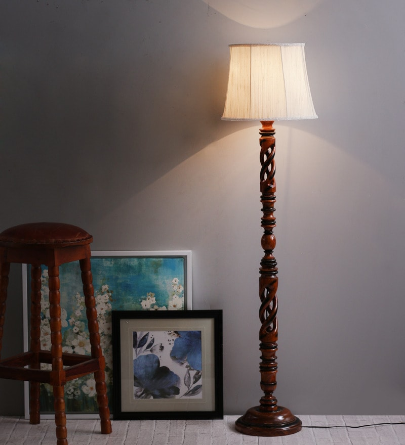 Buy the light house khadi shade vintage wood floor lamp online off white twisted wood floor lamp by the light house aloadofball Gallery