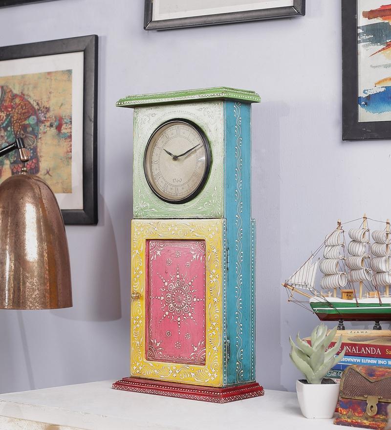 Multicolour Mango Wood & MDF 8.8 x 4.5 x 18.8 Inch Jodhpuri Clock with Key Box by Nandani Wood