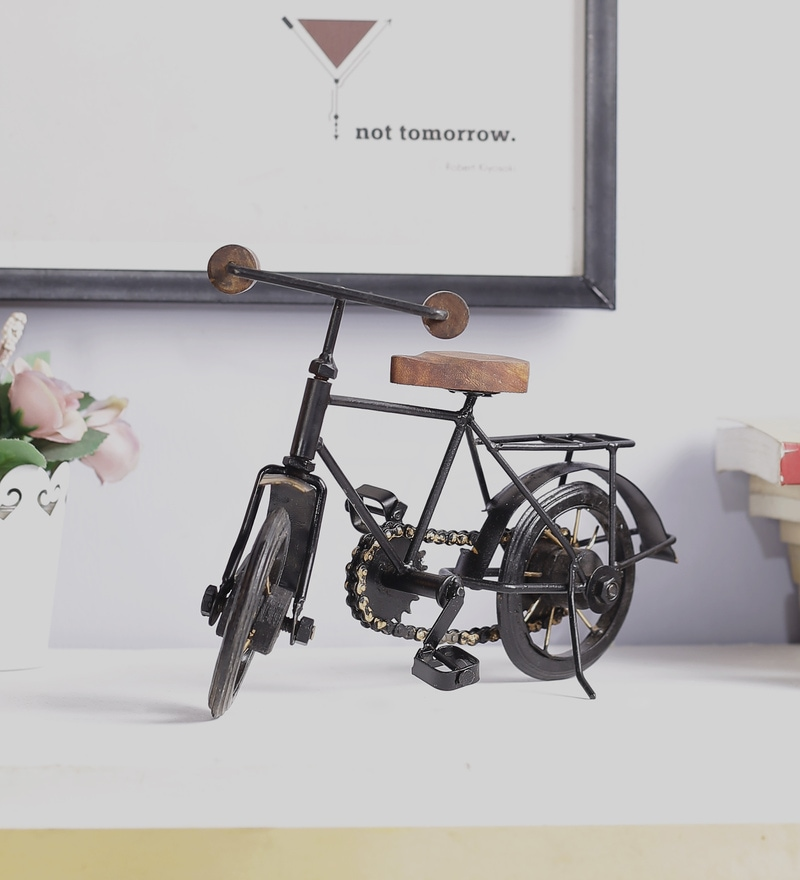 Black & Brown Mango Wood & MDF Jodhpuri Antique Bicycle by The Mikky Shoppe Station