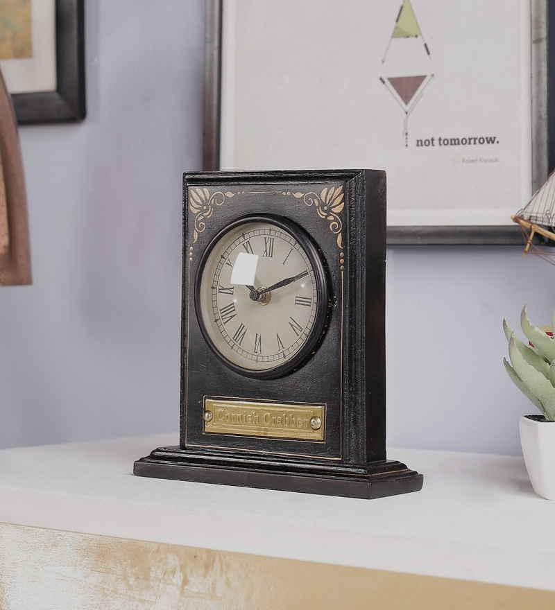 Black & Brown Mango Wood & MDF Table Clock by Nandani Wood