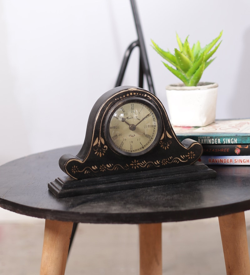 Black & Brown Mango Wood & MDF Table Clock by The Mikky Shoppe Station