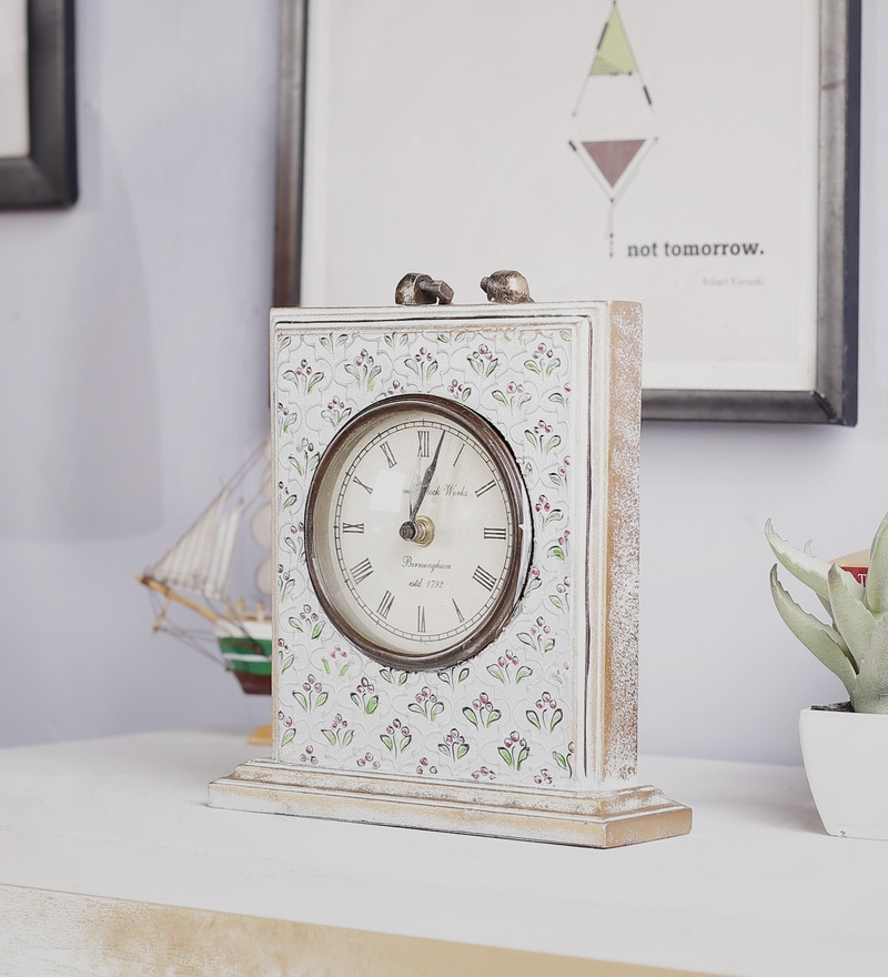 White Mango Wood & MDF Table Clock by The Mikky Shoppe Station