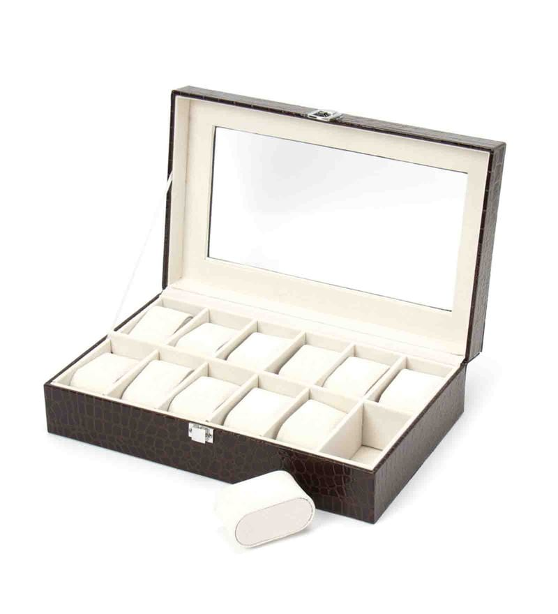Premium 12 Slots Leather Brown Watch Box by The Quirk Box