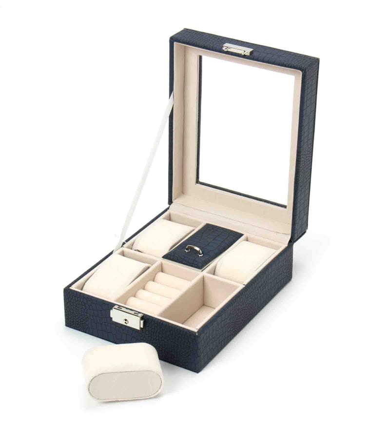 Premium 6 Slots Leather Blue Watch & Jewellery Box by The Quirk Box