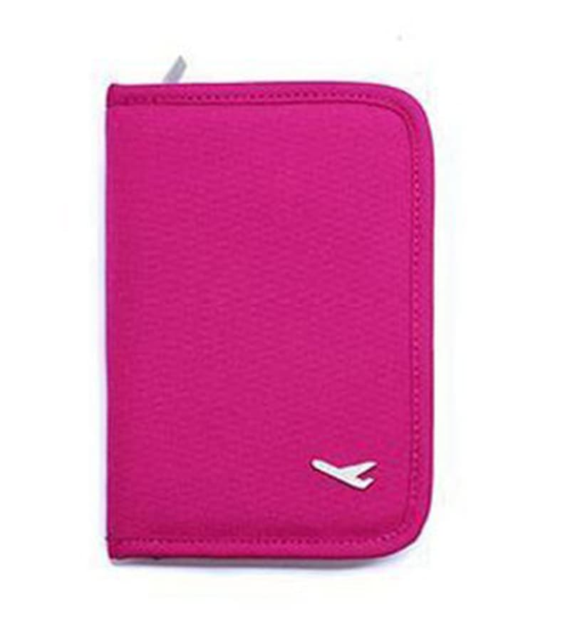 The Quirk Box Synthetic Pink Travel Passport & Currency Holder Organizer
