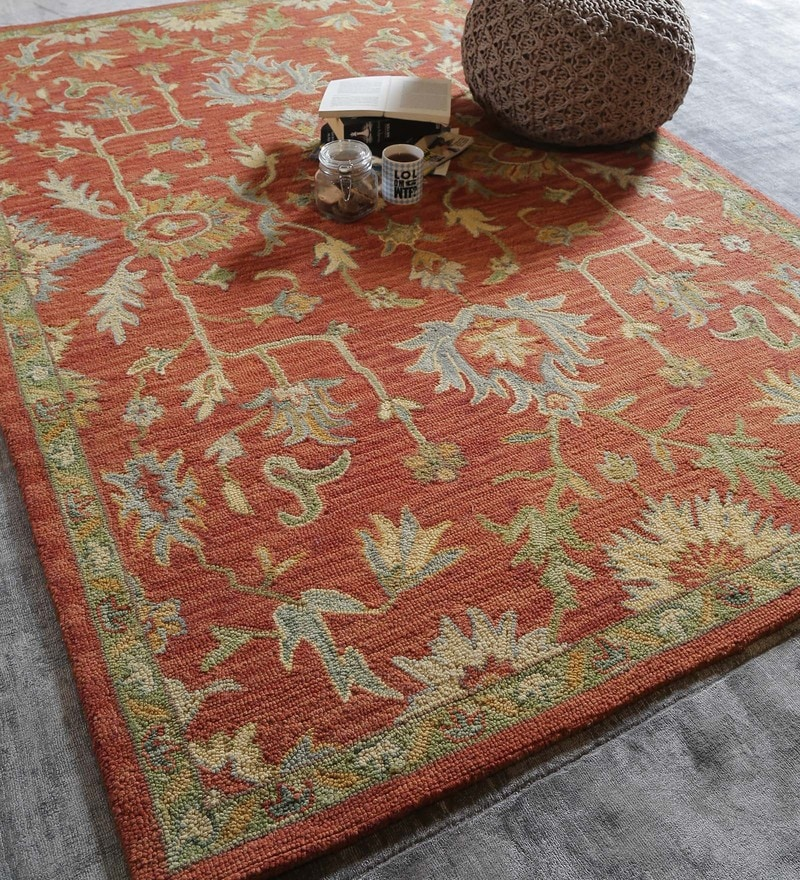 Rust Wool Indian Ethnic Carpet by The Rug Republic