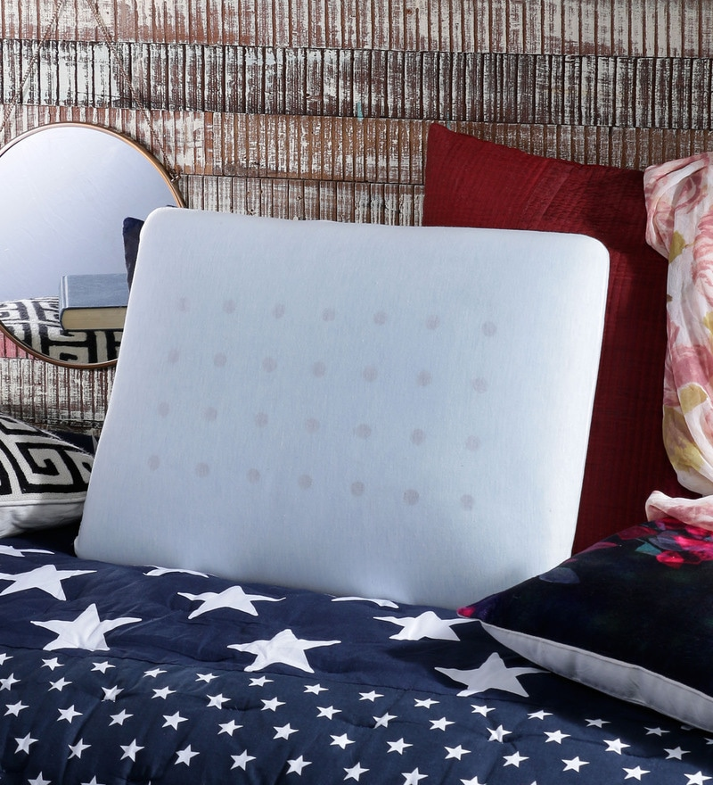 Blue Memory Foam 17 x 22 Pillow by The White Willow