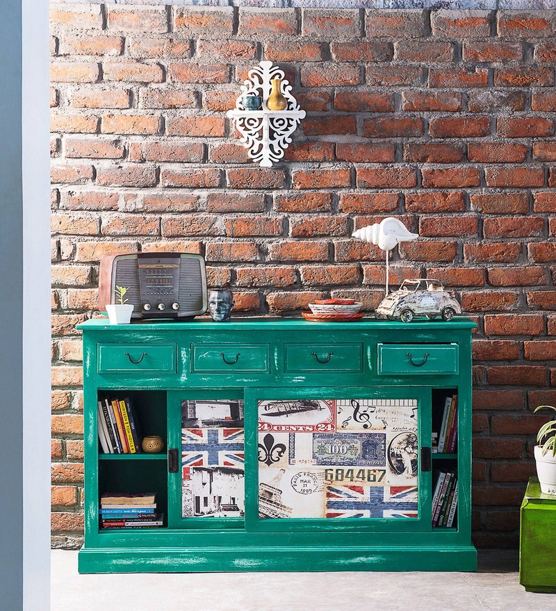 Daft Sliding Sideboard in Jade Green Finish by Bohemiana
