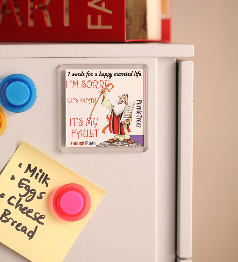 Multicolour Plastic & Paper 7 Words for Happy Married Life Fridge Magnet by Thoughtroad