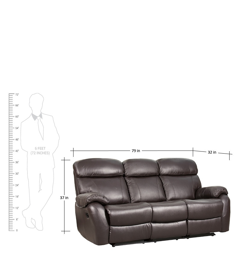Leather Sofa Sale India: Buy Three Seater Half Leather Sofa With 2 Manual Recliners