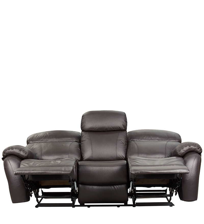 Peckham Sectional Sofa India: Buy Three Seater Half Leather Sofa With 2 Manual Recliners