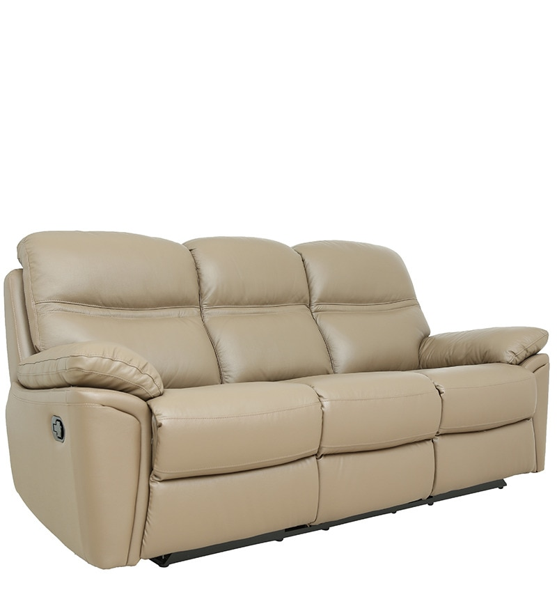 Pure Leather Sofa Sets: Buy Three Seater Sofa With 2 Manual Recliners In Taupe