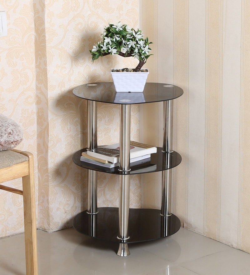Caba Three Shelf Corner Table in Black Colour by Parin