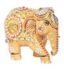 The Nodding Head Brown Wooden Glittering Elephant Showpiece