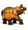 The Nodding Head Brown Wooden Painted Walking Elephant Figurine Showpiece