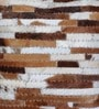 Brown & White Natural Hide 18 x 18 Inch Tiago Cushion Cover with Insert by The Rug Republic
