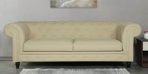 Tierra Three Seater Sofa In Beige Colour